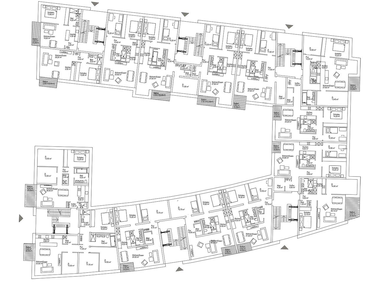 Bogenviertel Dresden – Machbarkeitsstudie zu Grundrissen eines Mehrfamilienhausblocks