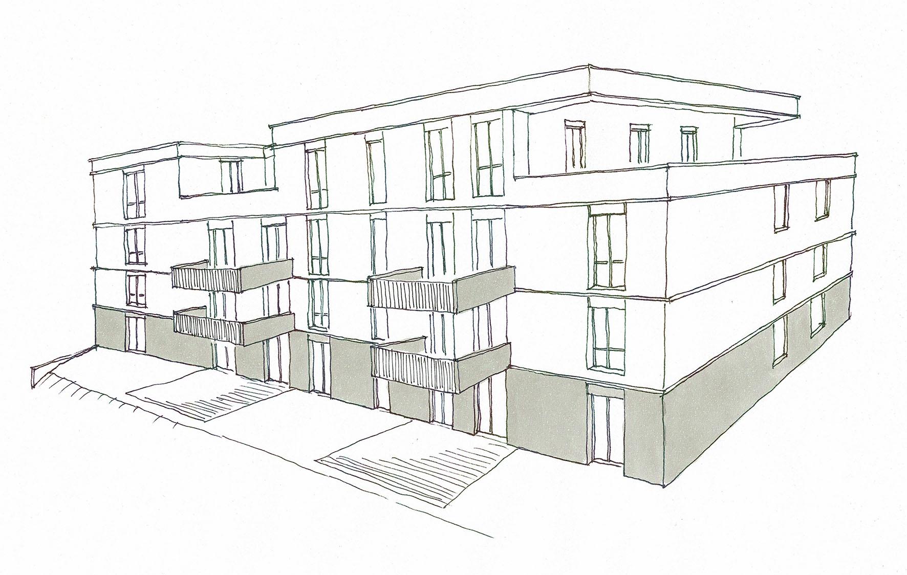 Mehrfamilienhaus Gustav-Wünsch-Straße_Beginn des Innenausbaus